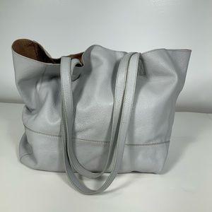 Saks Fifth Avenue Light Gray Leather Purse